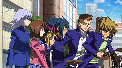 Yugi, Aigami, and the gang watching down the street and chatting
