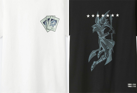 UNIQLO T-shirt designs featuring three Blue-Eyes White Dragon cards and Dark Magician