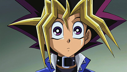 A wide-eyed Yugi Muto looking at the Pyramid of Light in Yu-Gi-Oh! The Movie