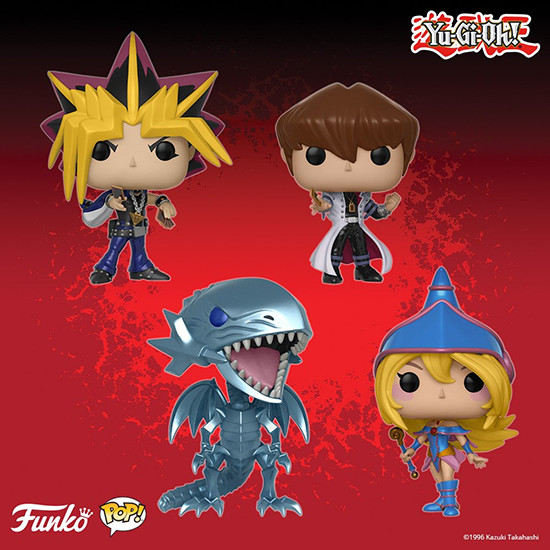 Funko Pop! Animation Yu-Gi-Oh! figures: Yami Yugi, Seto Kaiba, Blue-Eyes White Dragon, and Dark Magician Girl