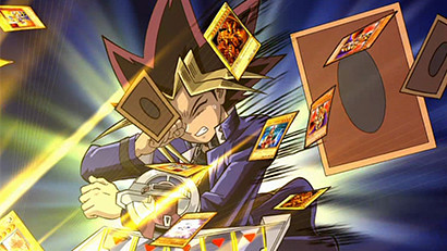 Anubis' attack sends Yugi's cards flying in Yu-Gi-Oh! The Movie: Pyramid of Light