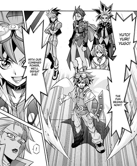 Yuya, Yuto, Yuri, and Yugo declaring that they will combine their powers to defeat Eve in Yu-Gi-Oh! ARC-V manga chapter 36