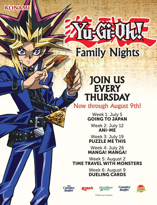 Promotional image for Yu-Gi-Oh! Family Nights from Ovation Brands and Furr's Fresh Buffet