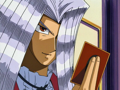 Pegasus looking at his opponent after drawing a card in episode 35