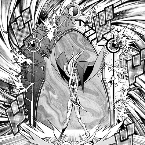 Eve destroying Mystic Hell Gate and Mystic Heaven Gate in Yu-Gi-Oh! ARC-V manga chapter 37