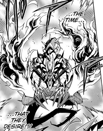 Front view of Genesis Omega Dragon in Yu-Gi-Oh! ARC-V manga chapter 37