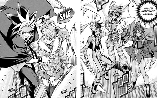 Yuto shielding Yuzu and Yugo and Yuri protecting Yuya in Yu-Gi-Oh! ARC-V manga chapter 37
