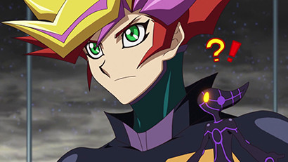 Ai is surprised when Playmaker activates a monster effect in Yu-Gi-Oh! VRAINS episode 36