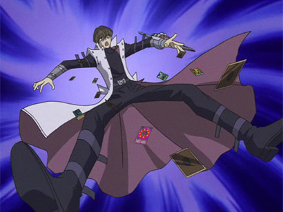 Seto Kaiba, dropping his cards and losing his duel, as envisioned by Ishizu in episode 94