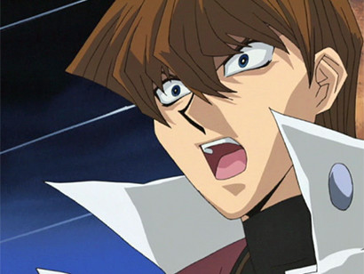 Seto Kaiba, shocked by Gozaburo Kaiba's plays in episode 120