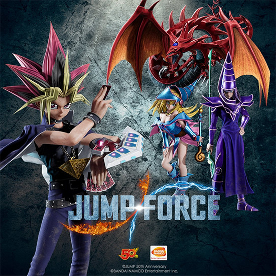 Jump Force Yu-Gi-Oh! promo image featuring Yami Yugi with Slifer the Sky Dragon, Dark Magician, and Dark Magician Girl