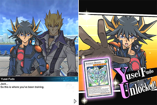 Yusei Fudo, Jack Atlas, and Stardust Dragon in Yu-Gi-Oh! Duel Links