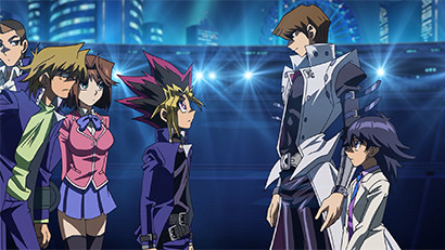 Seto Kaiba greeting Yugi Muto in Yu-Gi-Oh! The Dark Side of Dimensions