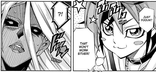 Yuya pretending to fall for G.O.D.'s tricks in Yu-Gi-Oh! ARC-V manga chapter 39
