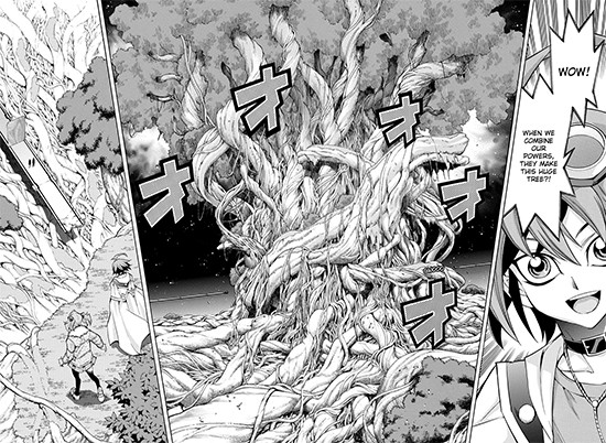 A huge tree forms when Yuya Sakaki and Reiji Akaba combine their Adam Factor powers in Yu-Gi-Oh! ARC-V manga chapter 40