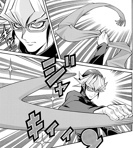 Reiji Akaba transforming his scarf into a boomerang in Yu-Gi-Oh! ARC-V manga chapter 40