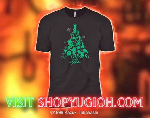 ShopYuGiOh.com ad showing the It's Time for Yule Yu-Gi-Oh! 2018 holiday shirt design