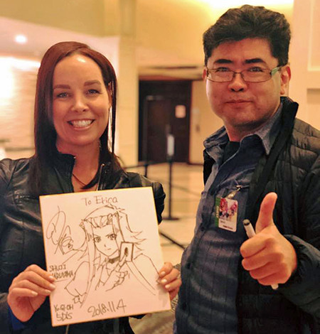 Erica Schroeder, Shuji Maruyama, and Maruyama's illustration of Akiza Izinski