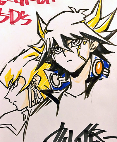 Yusei Fudo and Jack Atlas together, drawn live by Shuji Maruyama at Youmacon on November 2, 2018