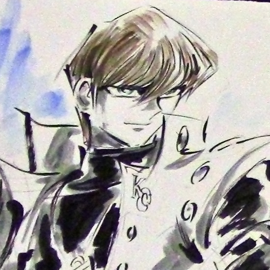 Close-up of Seto Kaiba in an illustration drawn live by Junichi Hayama at Youmacon on November 3, 2018