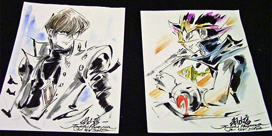 Seto Kaiba and Yami Yugi illustrations, drawn live by Junichi Hayama at Youmacon on November 3, 2018