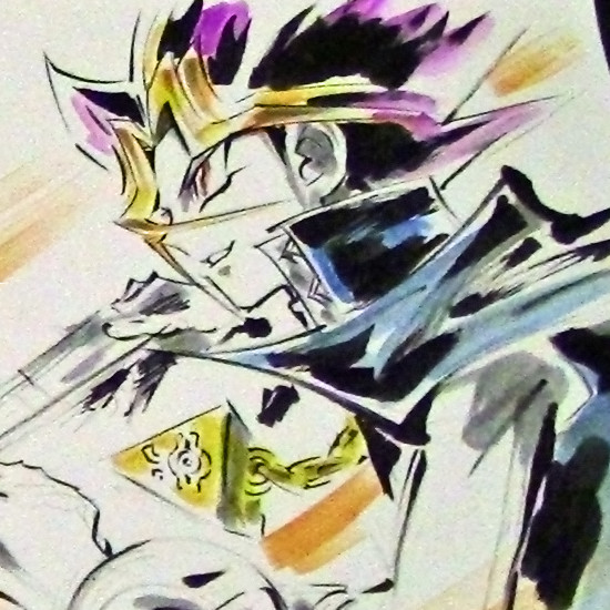 Close-up of Yami Yugi in an illustration drawn live by Junichi Hayama at Youmacon on November 3, 2018