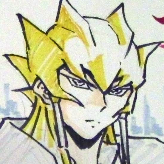 Close-up of Jack Atlas in an illustration drawn live by Shuji Maruyama at Youmacon on November 3, 2018