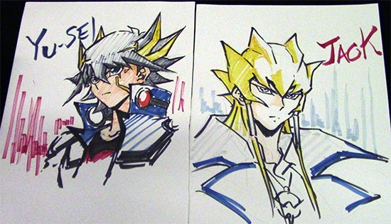 Yusei Fudo and Jack Atlas illustrations, drawn live by Shuji Maruyama at Youmacon on November 3, 2018