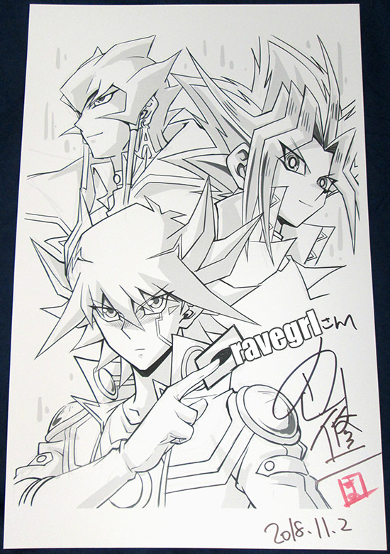 Shuji Maruyama's original print with Yusei Fudo, Jack Atlas, and Yami Yugi illustrations