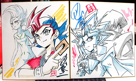 Yuma Tsukumo, Astral, Yami Yugi, and Kaiba illustrations on two shikishi by Shuji Maruyama at Youmacon 2018