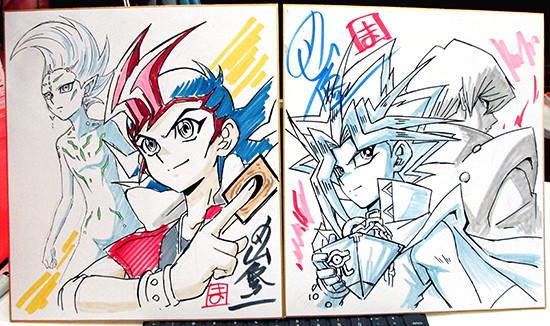 Yuma Tsukumo, Astral, Yami Yugi, and Kaiba illustrations on two shikishi by Shuji Maruyama at Youmacon 2018