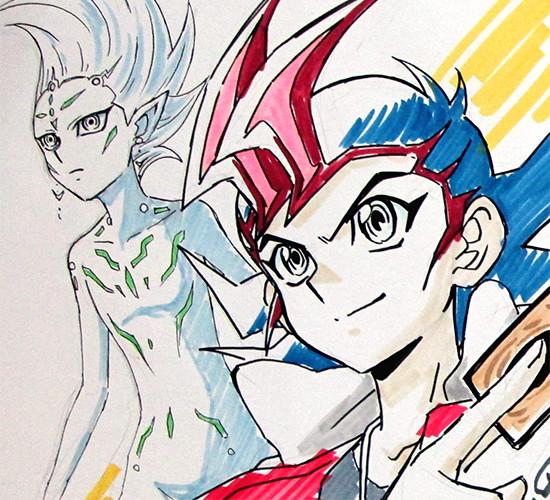 Yuma Tsukumo and Astral illustration on a shikishi by Shuji Maruyama at Youmacon 2018