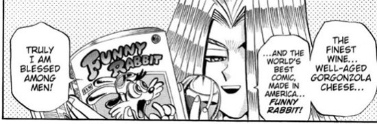 Pegasus enjoying gorgonzola cheese, wine, and a comic in Yu-Gi-Oh! Duelist chapter 14