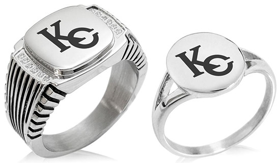 Kaiba Corporation KC logo rings by Tioneer Jewelry