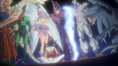 Yuma and Astral, surrounded by the legendary monsters from Yu-Gi-Oh! Duel Monsters and GX, in Yu-Gi-Oh! ZEXAL episode 16