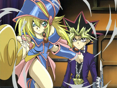 Yugi watching as Dark Magician Girl finishes attacking an opponent in episode 62