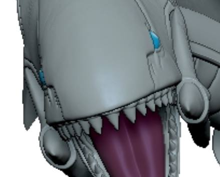 A 3D computer model showing part of First 4 Figures' Blue-Eyes White Dragon