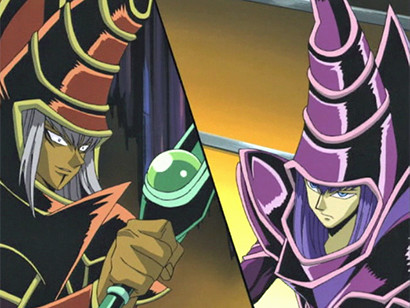 Arkana's and Yugi's Dark Magician facing off in episode 61