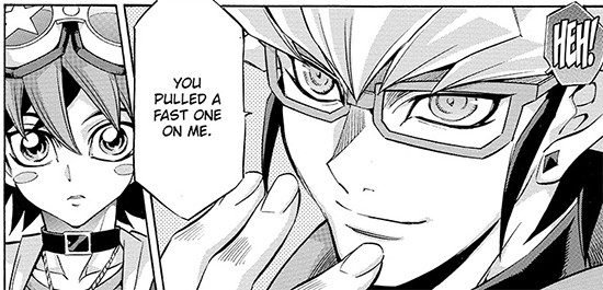 Reiji Akaba smiling in Yu-Gi-Oh! ARC-V manga chapter 43