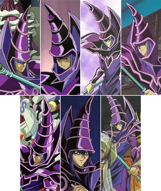 Comparison of Dark Magician's hat designs in the Yu-Gi-Oh! Duel Monsters anime