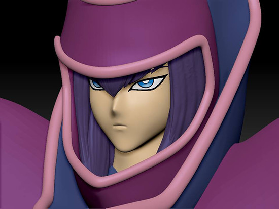 Early render of Dark Magician's neutral face by First 4 Figures