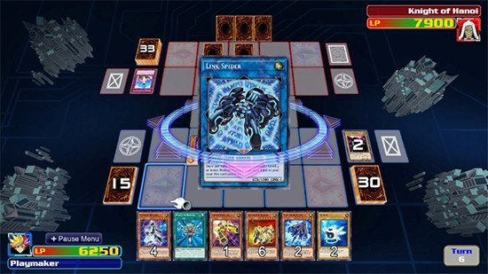 Playmaker playing Link Spider against a Knight of Hanoi in Yu-Gi-Oh! Legacy of the Duelist: Link Evolution