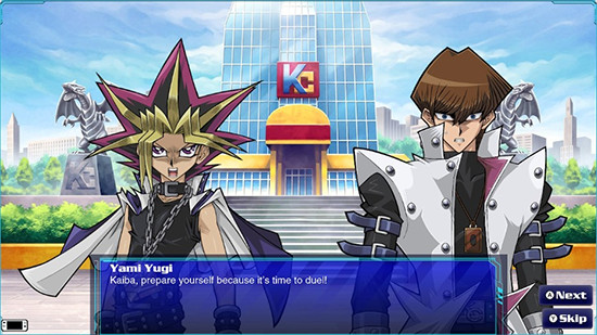 Yugi challenging Kaiba in the Yu-Gi-Oh! Legacy of the Duelist: Link Evolution story mode