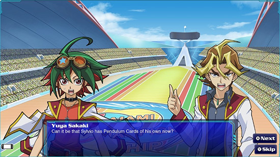 Yuya meeting Sylvio in the Yu-Gi-Oh! Legacy of the Duelist: Link Evolution story mode
