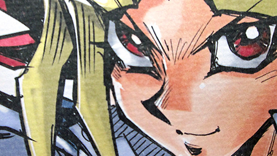 Close-up of Yugi's face on Kazuki Takahashi's MAGIC 2019 shikishi