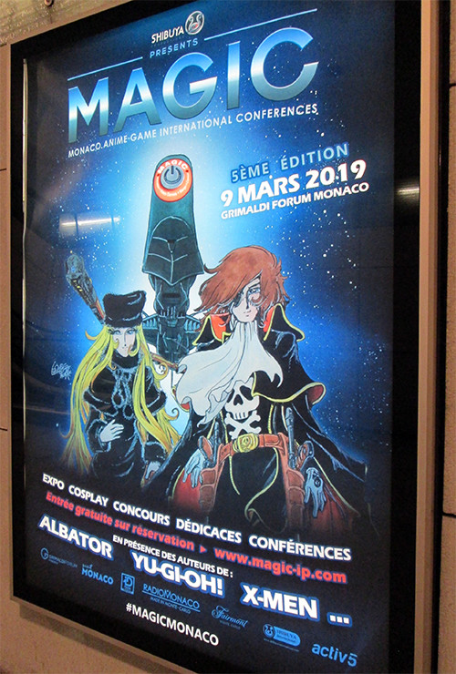 MAGIC 2019 advertisement poster at the Monaco-Monte-Carlo train station