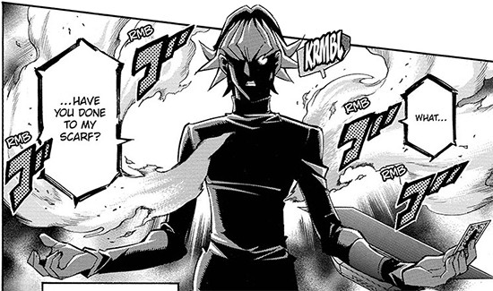 Reiji Akaba lamenting the destruction of his scarf in Yu-Gi-Oh! ARC-V manga chapter 44