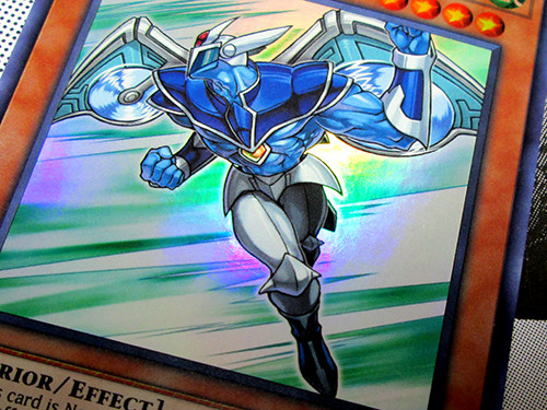 Close-up of the Yu-Gi-Oh! TCG Elemental HERO Stratos promo card included with the Weekly Shonen Jump Spring 2019 Jump Pack
