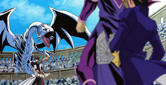 Kaiba and Blue-Eyes White Dragon facing off against Yugi and Dark Magician in episode 132