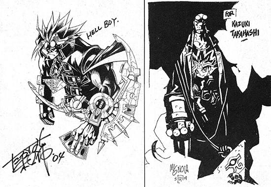 Kazuki Takahashi's Hellboy artwork and Mike Mignola's Yugi artwork from VIZ Media's Shonen Jump, September 2004